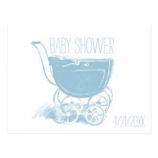 Adorable Blue Baby Boy Carriage Retro Baby Shower Postcard