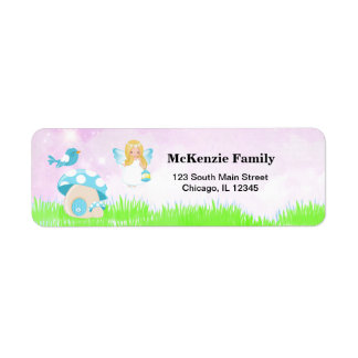 Adorable blue fairy return address label