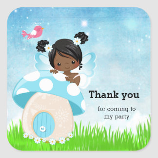 Adorable blue fairy square sticker