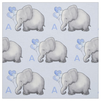 Adorable Blue Monogram Elephant Baby Boy Nursery Fabric