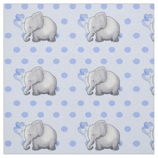 Adorable Blue Polka Dots Elephants Baby Nursery Fabric