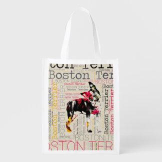 Adorable Boston Terrier Reusable Grocery Bag
