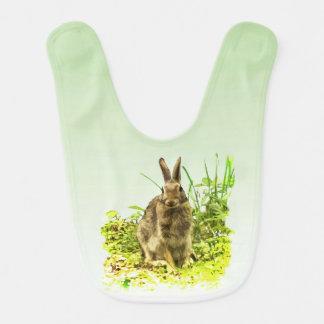 Adorable Brown Bunny Rabbit in Green Grass Bib