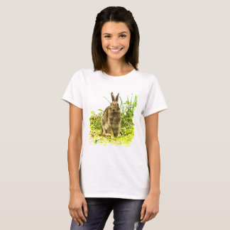 Adorable Brown Bunny Rabbit in Green Grass Shirt