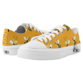 Adorable Bumble Bee Pattern Printed Shoes