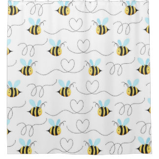 Adorable Bumble Bee Pattern Shower Curtain