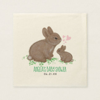 Adorable Bunnies in Clover with Hearts Baby Shower Disposable Serviette
