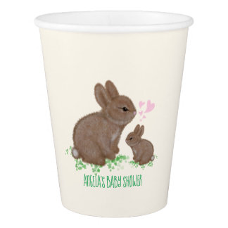 Adorable Bunnies in Clover with Hearts Baby Shower Paper Cup