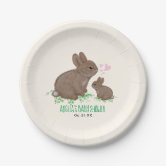 Adorable Bunnies in Clover with Hearts Baby Shower Paper Plate