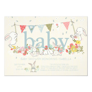 Adorable Bunny Boys Baby shower Invitation