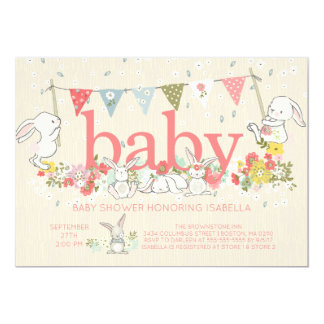 Adorable Bunny Girls Baby shower Invitation