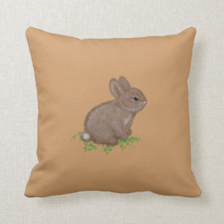 Adorable Bunny in Clover with Name Cushion