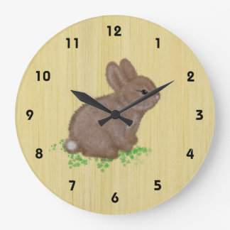 Adorable Bunny in Clover with Wood Background Large Clock
