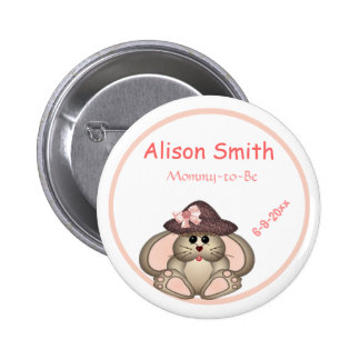 Adorable Bunny, Mommy-to-Be Baby Shower Buttons
