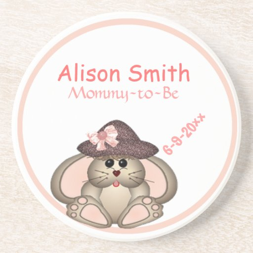Adorable Bunny, Mommy-to-Be Baby Shower Beverage Coaster