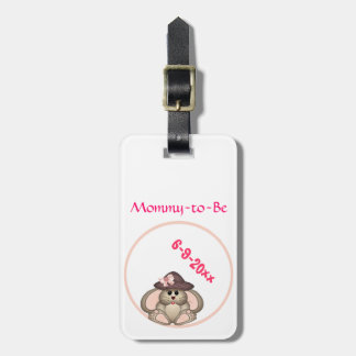 Adorable Bunny Mommy-to-Be Baby Shower Travel Bag Tags