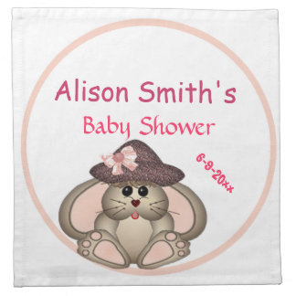 Adorable Bunny, Mommy-to-Be Baby Shower Napkin