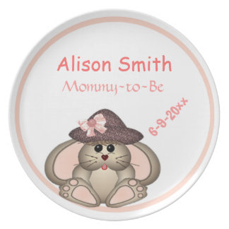 Adorable Bunny, Mommy-to-Be Baby Shower Party Plates