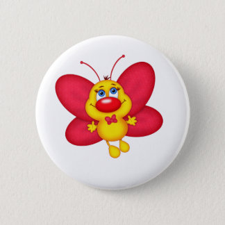 adorable butterfly 6 cm round badge