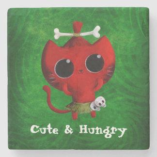 Adorable Cannibal Halloween Cat Stone Beverage Coaster