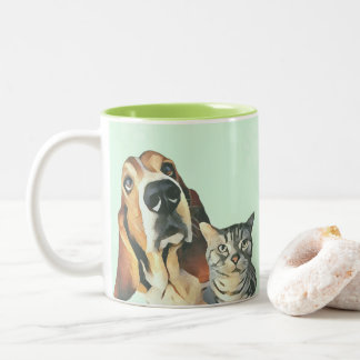 Adorable Cartoon Cat Dog Painting Green Footprints Two-Tone Coffee Mug