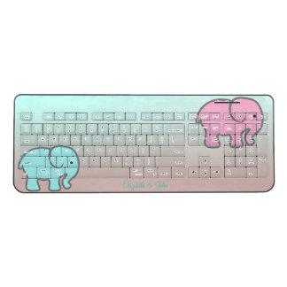 Adorable Cartoon Elephants-Personalized Wireless Keyboard