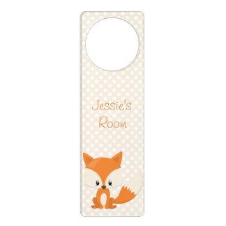 Adorable Cartoon Fox with Polka-Dot Background Door Knob Hangers
