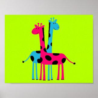 Adorable Cartoon Giraffes Poster