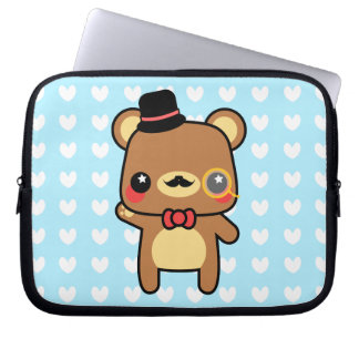 Adorable Cartoon Kawaii Bear Mustache Laptop Bag