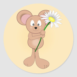 Adorable Cartoon Mouse with Flower Classic Round Sticker