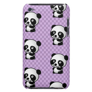 Adorable Cartoon Panda's Purple Checked Background Barely There iPod Cases