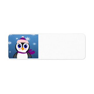 Adorable Cartoon Penguin with Scarf and Hat Return Address Label