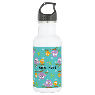 Adorable Cartoon Style Owls on Branch Print 532 Ml Water Bottle