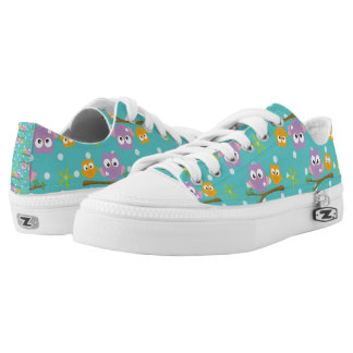 Adorable Cartoon Style Owls on Branch Print Low Tops