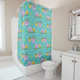 Adorable Cartoon Style Owls on Branch Print Shower Curtain