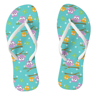 Adorable Cartoon Style Owls on Branch Print Thongs