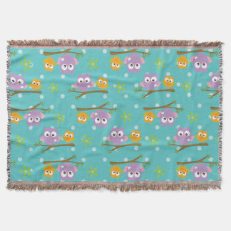 Adorable Cartoon Style Owls on Branch Print Throw Blanket