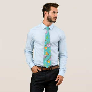 Adorable Cartoon Style Owls on Branch Print Tie