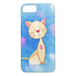 Adorable Cat Illustration with Hearts iPhone 7 Case