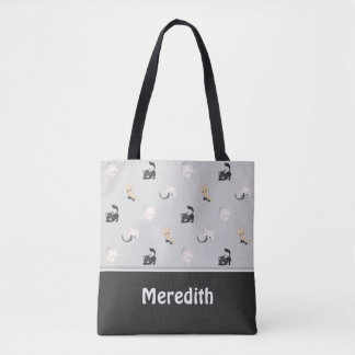 Adorable Cats Pattern | Black Grey | Personalised Tote Bag