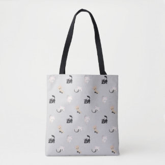 Adorable Cats Pattern | Black Grey | Tote Bag