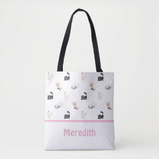 Adorable Cats Pattern | White | Personalised Tote Bag