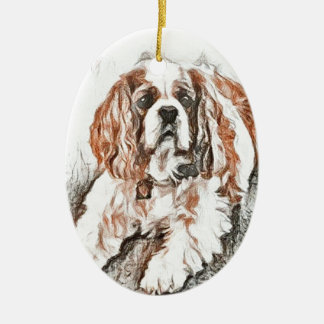 Adorable Cavalier King Charles Spaniel Sketch Ceramic Ornament