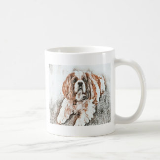 Adorable Cavalier King Charles Spaniel Sketch Coffee Mug