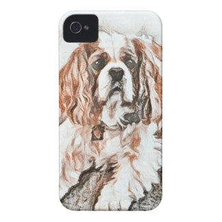 Adorable Cavalier King Charles Spaniel Sketch iPhone 4 Cover