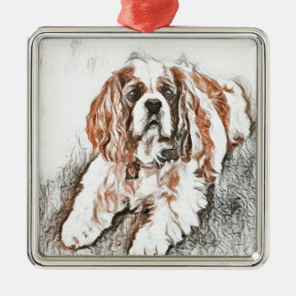 Adorable Cavalier King Charles Spaniel Sketch Metal Ornament
