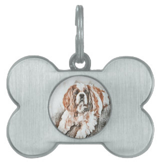 Adorable Cavalier King Charles Spaniel Sketch Pet Tag
