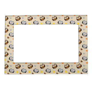 Adorable Checkered Hoot Owl Pattern Magnetic Picture Frame