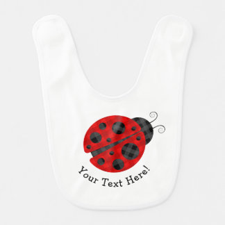 Adorable checkered plaid ladybug graphic icon bib