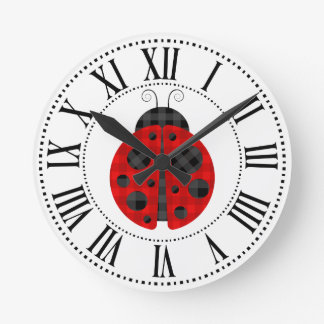 Adorable checkered plaid ladybug graphic icon round clock